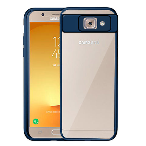 Digiprints Soft Silicon Bumper With Hard Transparent Pc Mobile Back Cover For Samsung Galaxy J7 Max-Blue