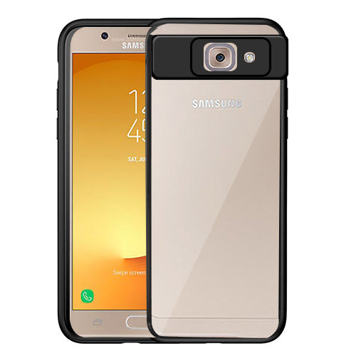 Digiprints Soft Silicon Bumper With Hard Transparent Pc Mobile Back Cover For Samsung Galaxy J7 Max-Black