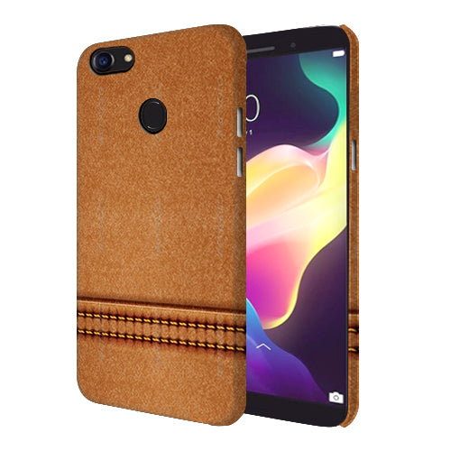 Digiprints Brown Leather Stich Pattern Printed Designer Back Case Cover For Oppo F5 Youth
