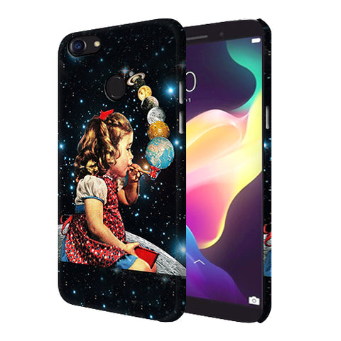 Digiprints Girl Bowing Planets Printed Designer Back Case Cover For Oppo F5 Youth