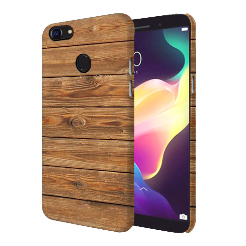 Digiprints Brown Wooden Pattern Printed Designer Back Case Cover For Oppo F5 Youth