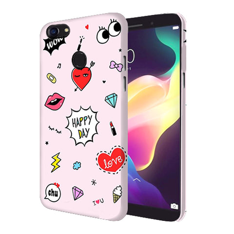 Digiprints Girly Love Collage Printed Designer Back Case Cover For Oppo F5 Youth