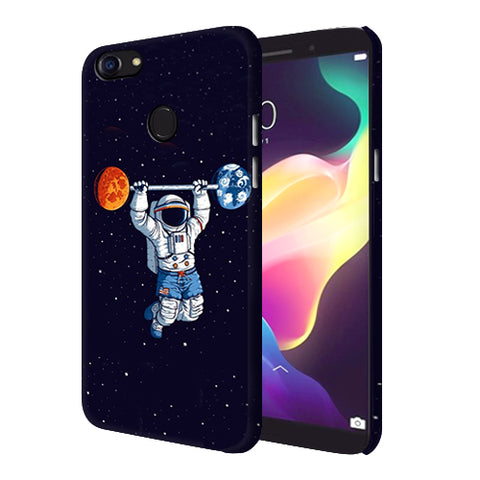 Digiprints Astranaut Lifting Planets Printed Designer Back Case Cover For Oppo F5 Youth