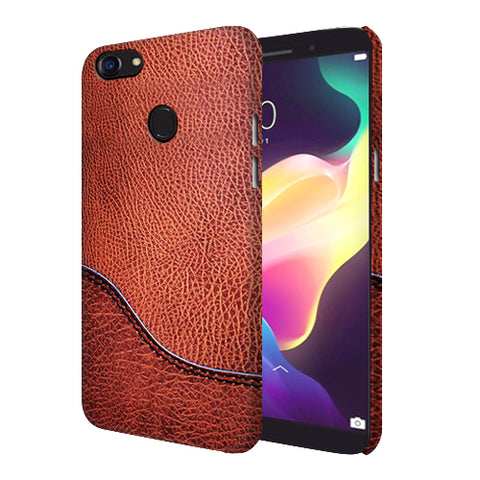 Digiprints Brown Leather Design Printed Designer Back Case Cover For Oppo F5 Youth