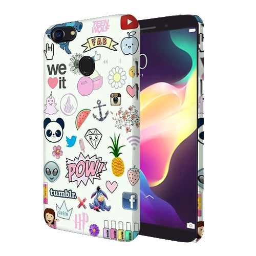 Digiprints Social Collage Printed Designer Back Case Cover For Oppo F5 Youth