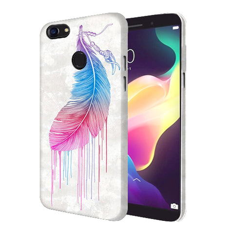 Digiprints Feather Paint Drop Printed Designer Back Case Cover For Oppo F5 Youth
