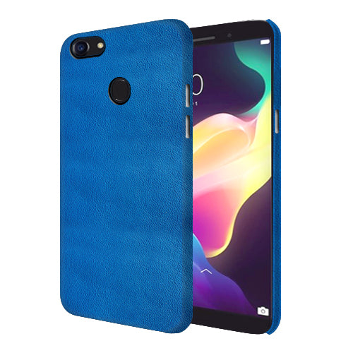 Digiprints Blue Leather Pattern Printed Designer Back Case Cover For Oppo F5 Youth