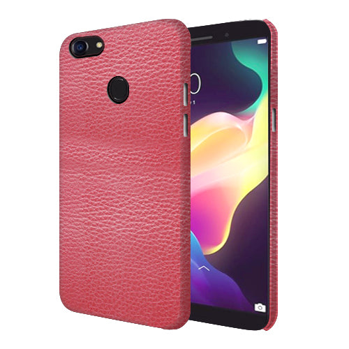 Digiprints Pink Leather Design Printed Designer Back Case Cover For Oppo F5 Youth