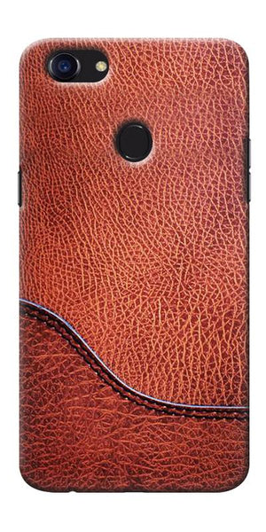 Digiprints Brown Leather Design Printed Designer Back Case Cover For Oppo F5