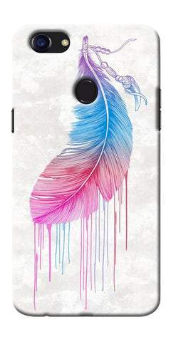 Digiprints Feather Paint Drop Printed Designer Back Case Cover For Oppo F5
