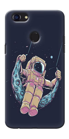 Digiprints Astranaut Riding Moon Printed Designer Back Case Cover For Oppo F5