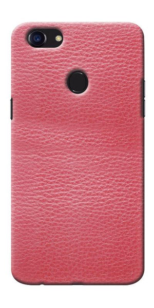 Digiprints Pink Leather Design Printed Designer Back Case Cover For Oppo F5