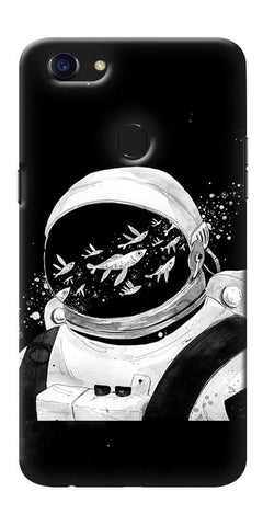 Digiprints Fish And Astranaut Art Printed Designer Back Case Cover For Oppo F5