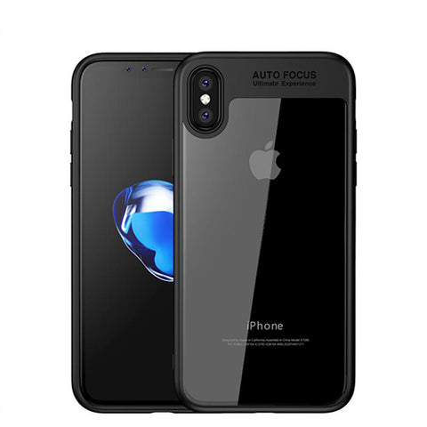 Digiprints Soft Silicon Bumper With Hard Transparent Pc Mobile Back Cover For Apple iPhone X-Black