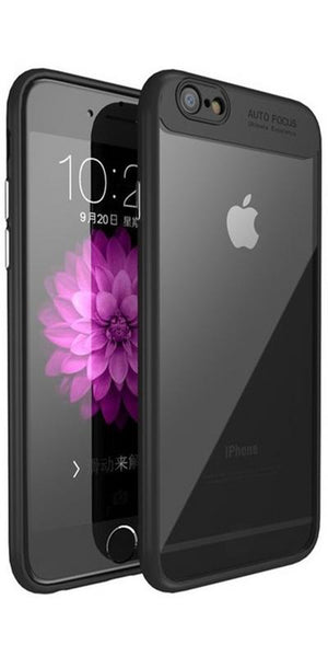 Digiprints Soft Silicon Bumper With Hard Transparent Pc Mobile Back Cover For Apple iPhone 6-Black