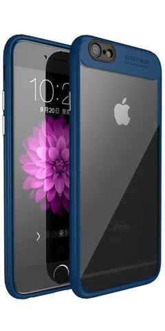 Digiprints Soft Silicon Bumper With Hard Transparent Pc Mobile Back Cover For Apple iPhone 7-Blue