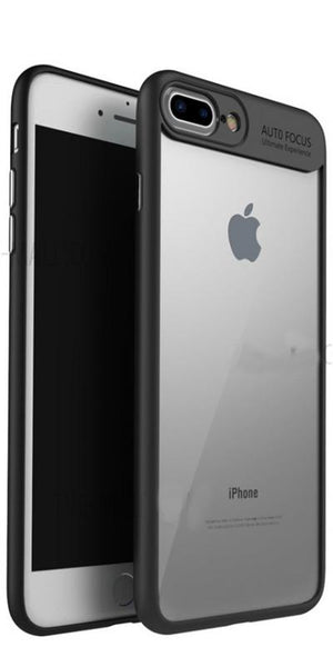 Digiprints Soft Silicon Bumper With Hard Transparent Pc Mobile Back Cover For Apple Iphone 7 Plus-Black