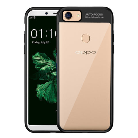 Digiprints Soft Silicon Bumper With Hard Transparent Pc Mobile Back Cover For Oppo F5-Black