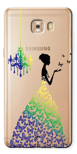 Digiprints Beautiful Lady In Butterfly Gown Design Pattern 2 Case For Samsung Galaxy C9 Pro
