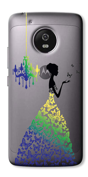 Digiprints Beautiful Lady In Butterfly Gown Design Pattern 2 Case For Motorola Moto G5