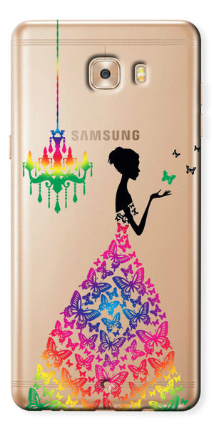 Digiprints Beautiful Lady In Butterfly Gown Design Pattern 3 Case For Samsung Galaxy C9 Pro