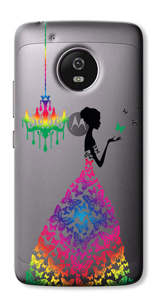 Digiprints Beautiful Lady In Butterfly Gown Design Pattern 3 Case For Motorola Moto G5