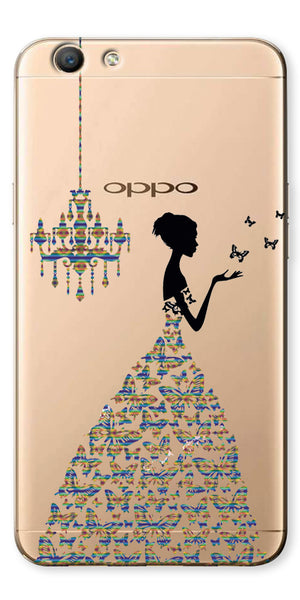 Digiprints Beautiful Lady In Butterfly Gown Design Pattern 4 Case For Oppo F1s
