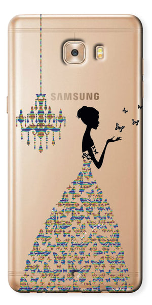 Digiprints Beautiful Lady In Butterfly Gown Design Pattern 4 Case For Samsung Galaxy C9 Pro