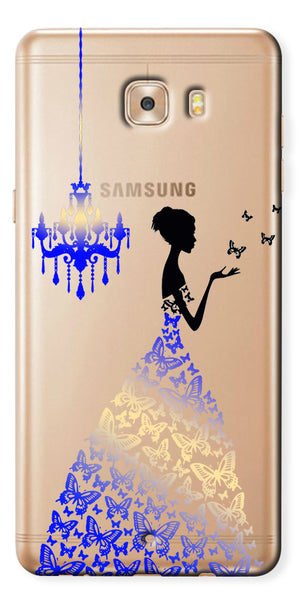 Digiprints Beautiful Lady In Butterfly Gown Design Pattern 5 Case For Samsung Galaxy C9 Pro