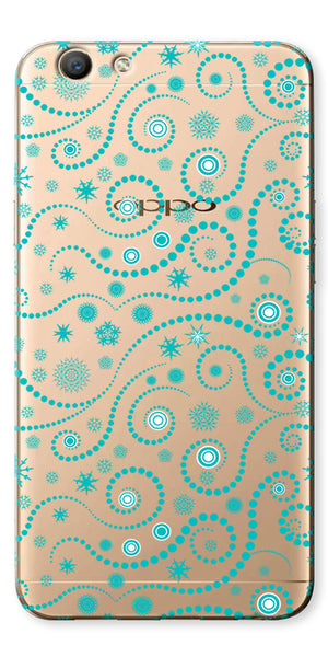 Digiprints Green Spiral Pattern Design Printed Clear Case For Oppo F1s