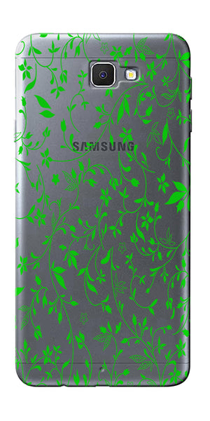 Digiprints Green Leaf Abstract Design Clear Case For Samsung Galaxy J7 Prime