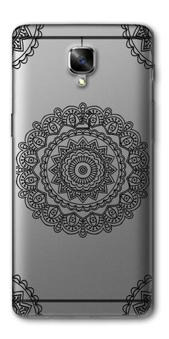 Digiprints Black White Beautiful Pattern Printed Back Case Cover For OnePlus 3