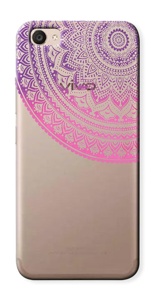 Digiprints Pink Purple Ethnic Pattern Clear Case For Vivo V5