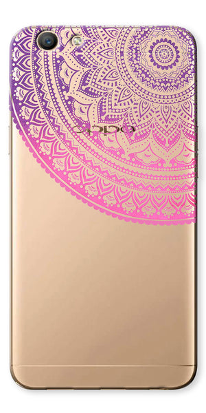 Digiprints Pink Purple Ethnic Pattern Clear Case For Oppo F1s