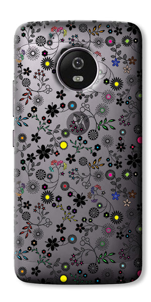 Digiprints Flower Art Printed Clear Case For Motorola Moto G5 Plus