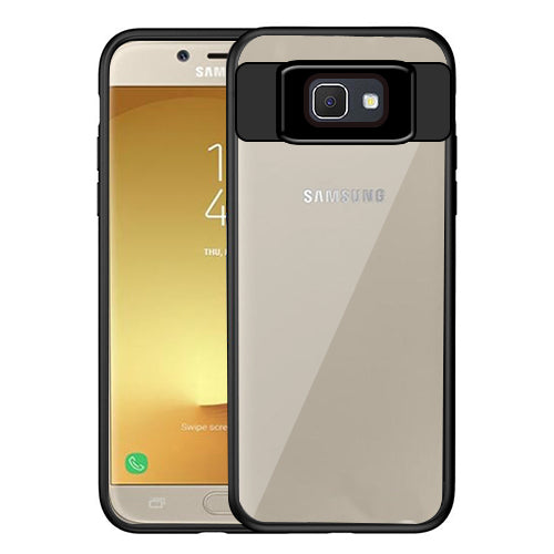 Digiprints Soft Silicon Bumper With Hard Transparent Pc Mobile Back Cover For Samsung Galaxy J7 Prime-Black