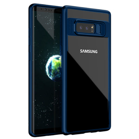 Digiprints Soft Silicon Bumper With Hard Transparent Pc Mobile Back Cover For Samsung Galaxy Note 8-Blue