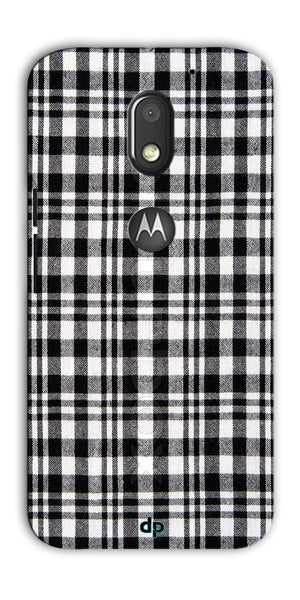 Digiprints Black Checks Printed Designer Back Case Cover For Motorola Moto E3 Power