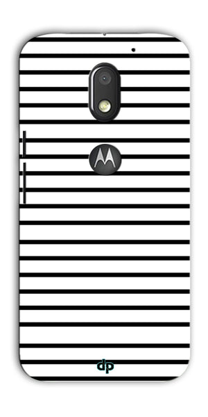 Digiprints Black Horizontal Strips Designer Printed Back Case Cover For Motorola Moto E3 Power