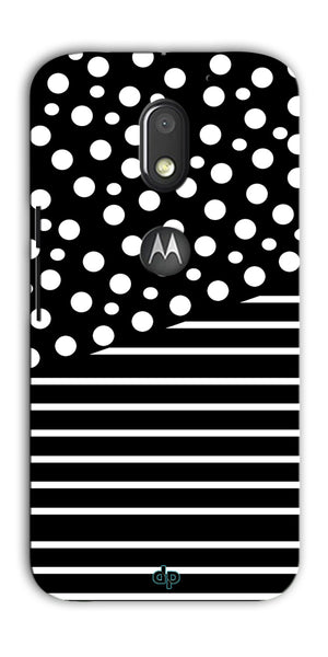 Digiprints White Strips And Dots Printed Back Case Cover For Motorola Moto E3 Power