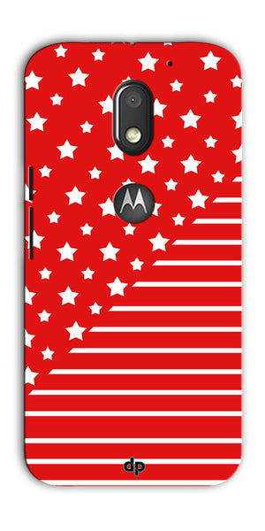 Digiprints Star And Strips On Red Printed Back Case Cover For Motorola Moto E3 Power