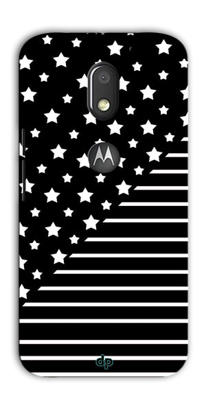 Digiprints Star And Strips On Black Printed Back Case Cover For Motorola Moto E3 Power