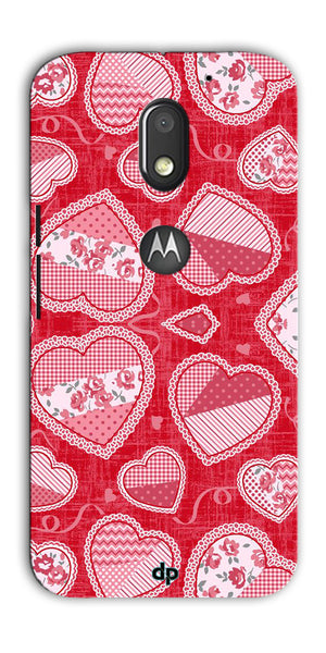 Digiprints Beautiful Pink Heart Design Printed Back Case Cover For Motorola Moto E3 Power