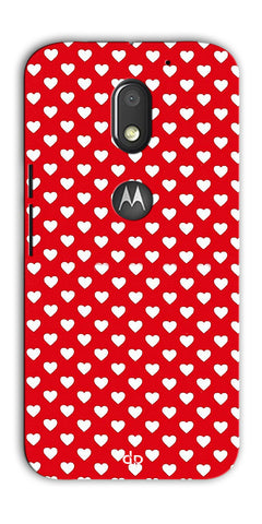 Digiprints Small Hearts On Red Design Printed Back Case Cover For Motorola Moto E3 Power