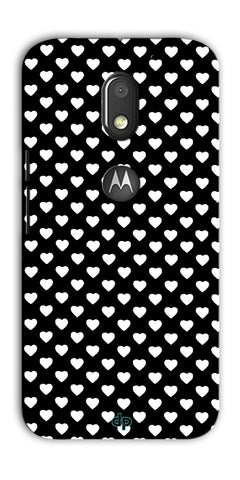 Digiprints Small Hearts On Black Design Printed Back Case Cover For Motorola Moto E3 Power