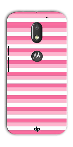 Digiprints Pink And White Strips Printed Back Case Cover For Motorola Moto E3 Power