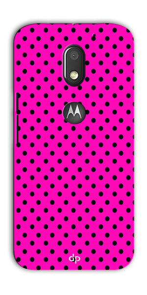 Digiprints Black Dotted Design Pink Printed Back Case Cover For Motorola Moto E3 Power