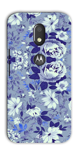 Digiprints Beautiful Blue Flowers Vector Design Back Case Cover For Motorola Moto E3 Power