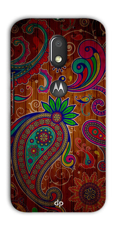 Digiprints Ethnic Wooden Art Back Case For Motorola Moto E3 Power