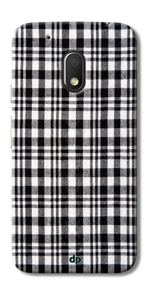 Digiprints Black Checks Printed Designer Back Case Cover For Motorola Moto G4 Play